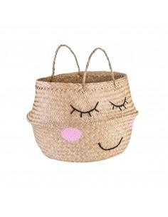Jūržolių krepšys su dvejomis rankenomis, papuoštas išsiuvinėtu veiduku