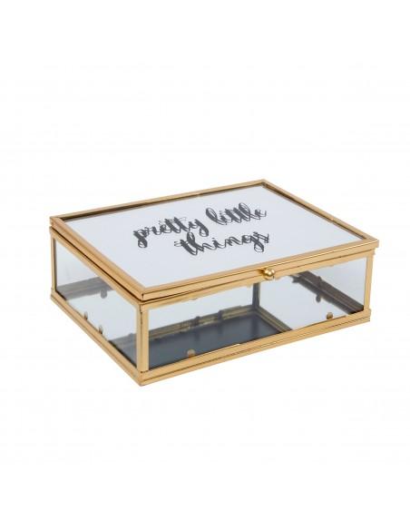 Dėžutė papuošalams su stiklinėmis sienelėmis