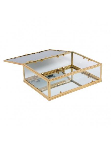 Atidaryta dėžutė papuošalams, dugnas ir viršus veidrodinis