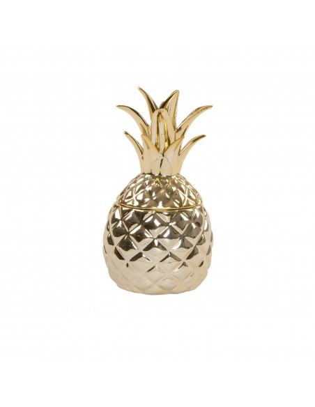 Auksinės spalvos keramikinė, ananaso formos  dėžutė