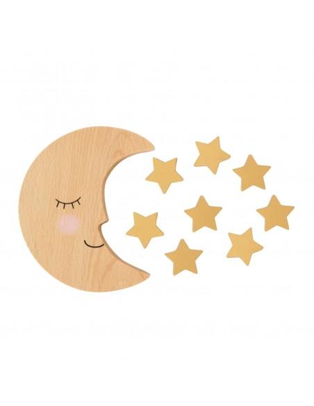 Medinis žaislas vaikams, mėnulio formos su žvaigždutėmis