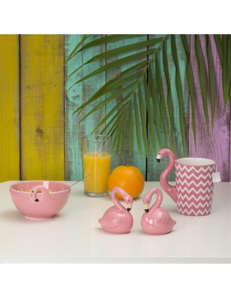 Indelių rinkinys druskai ir pipirams flamingai ant stalo