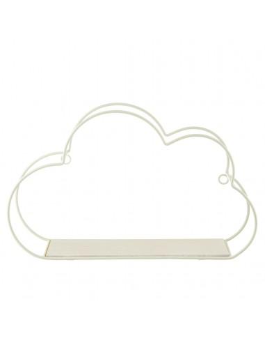 Balta debesėlio formos pakabinama lentyna.
