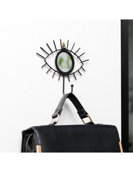 Akies formos sieninis kabliukas su veidrodžiu daiktams kabinti