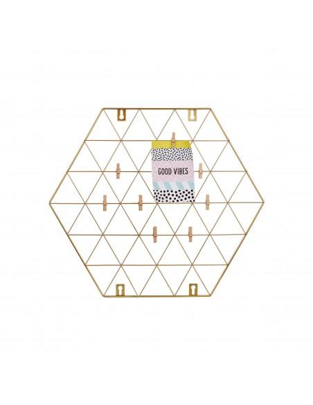 Šešiakampio formos, aukso spalvos sieninis nuotraukų laikiklis