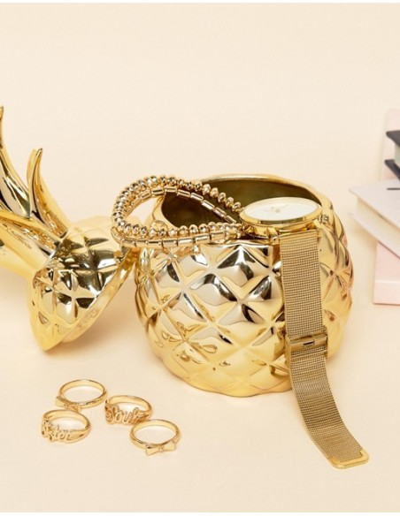 Aukso spalvos, ananaso dėžutė puikus interjero akcentas.