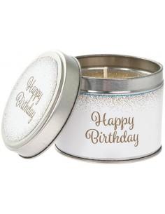 Žvakė metaliniame indelyje su užrašu gimtadieniui
