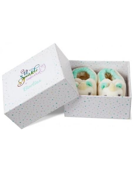 Kūdikių batukai vienaragio formos dizaino dėžutėje dovanoms