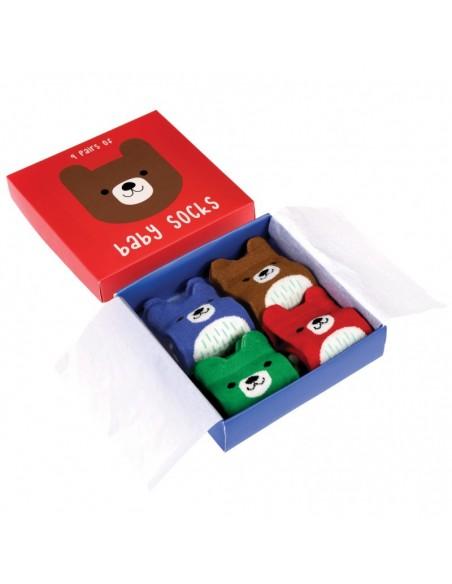 Keturių porų kūdikių kojinių rinkinys dovanų dėžutėje