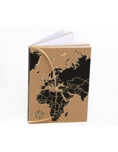 Užrašų knygelė A6 formato su žemėlapio spauda ant viršelio ir auksiniais lapų apvadais